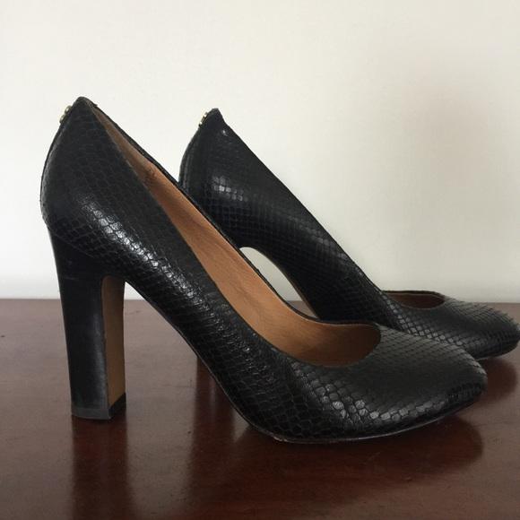 9e0227590a0 COACH Sue Printed Snakeskin Black Pumps Leather